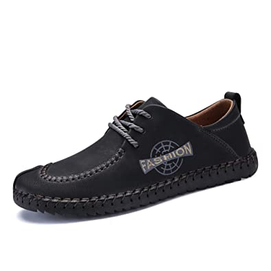a40b6314 SEVENZAI Fashion Leather Casual Men Shoes Designer Driving Leisure  Comfortable Male Footwear (38, Black