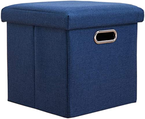 Lihio Folding Storage Ottoman Cube Foot Rest Stool Storage Seat Foldable Storage Boxes Hollow Design Padded