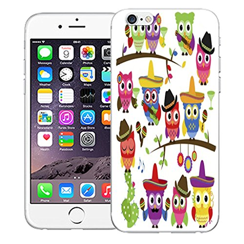 """Mobile Case Mate iPhone 6S Plus 5.5"""" Silicone Coque couverture case cover Pare-chocs + STYLET - Mexican Owls pattern (SILICON)"""