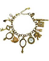 Q&Q Fashion Vintage Fairytale Charms Cinderella Alice in Wonderland Narnia Style Looking Glass Chain Bangle Bracelet