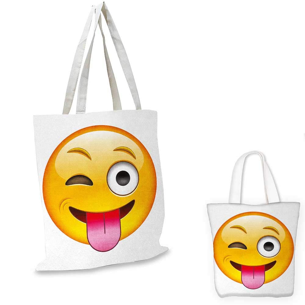 Emoji canvas messenger bag Cartoon like Technologic Smiley Flirty Sarcastic Happy Face with Tongue Modern Print canvas beach bag Yellow 12x15-10