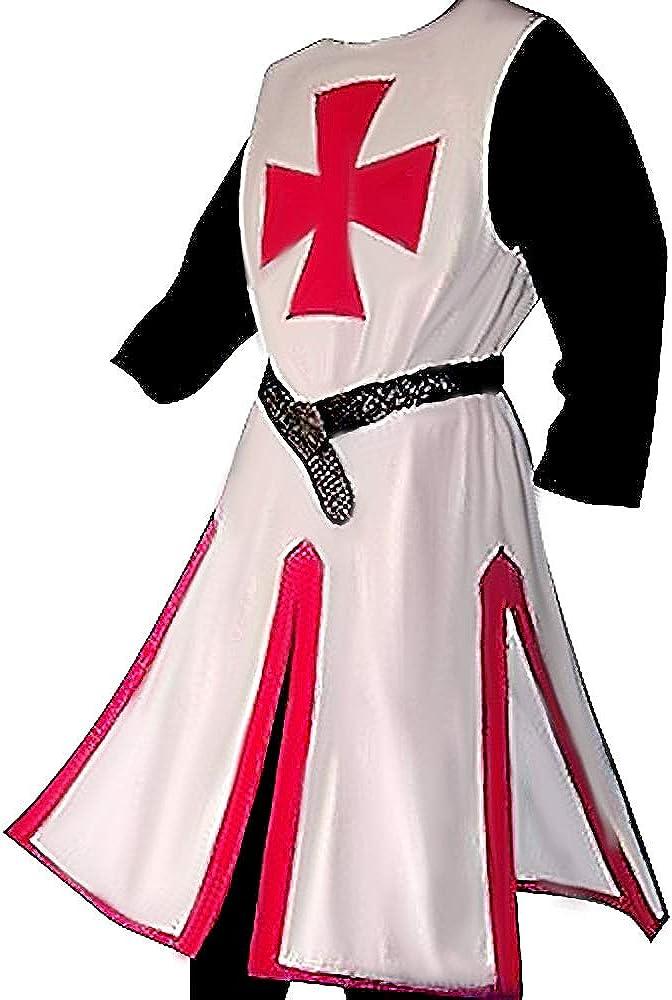CaoJinyu Traje de Cosplay de Cruzada Medieval para Hombres, Halloween Templar Knight Warrior Retro Tunic Roleplaying
