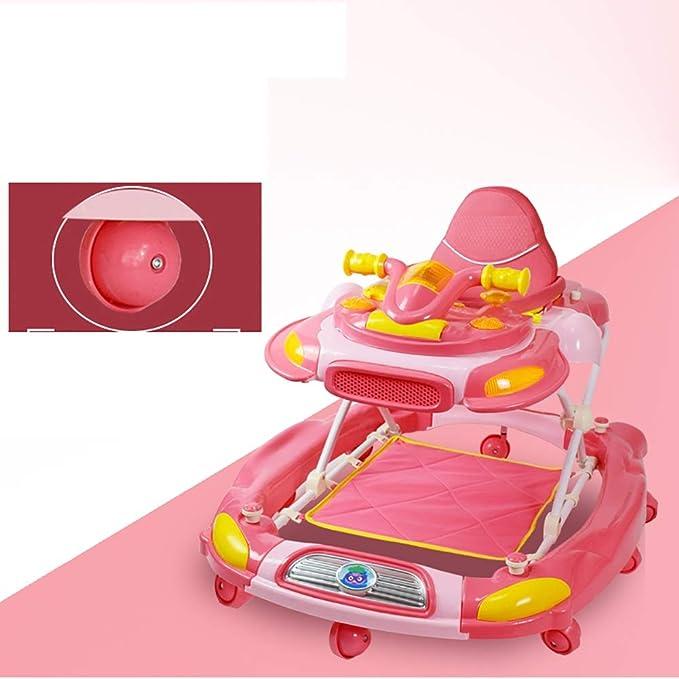 GUO@ Andador plegable para bebés 6/7-18 meses Anti-vuelco Música ligera Multifunción Infantil Infantil Variable Caballo mecedora Carrito de ruedas Rueda de ...