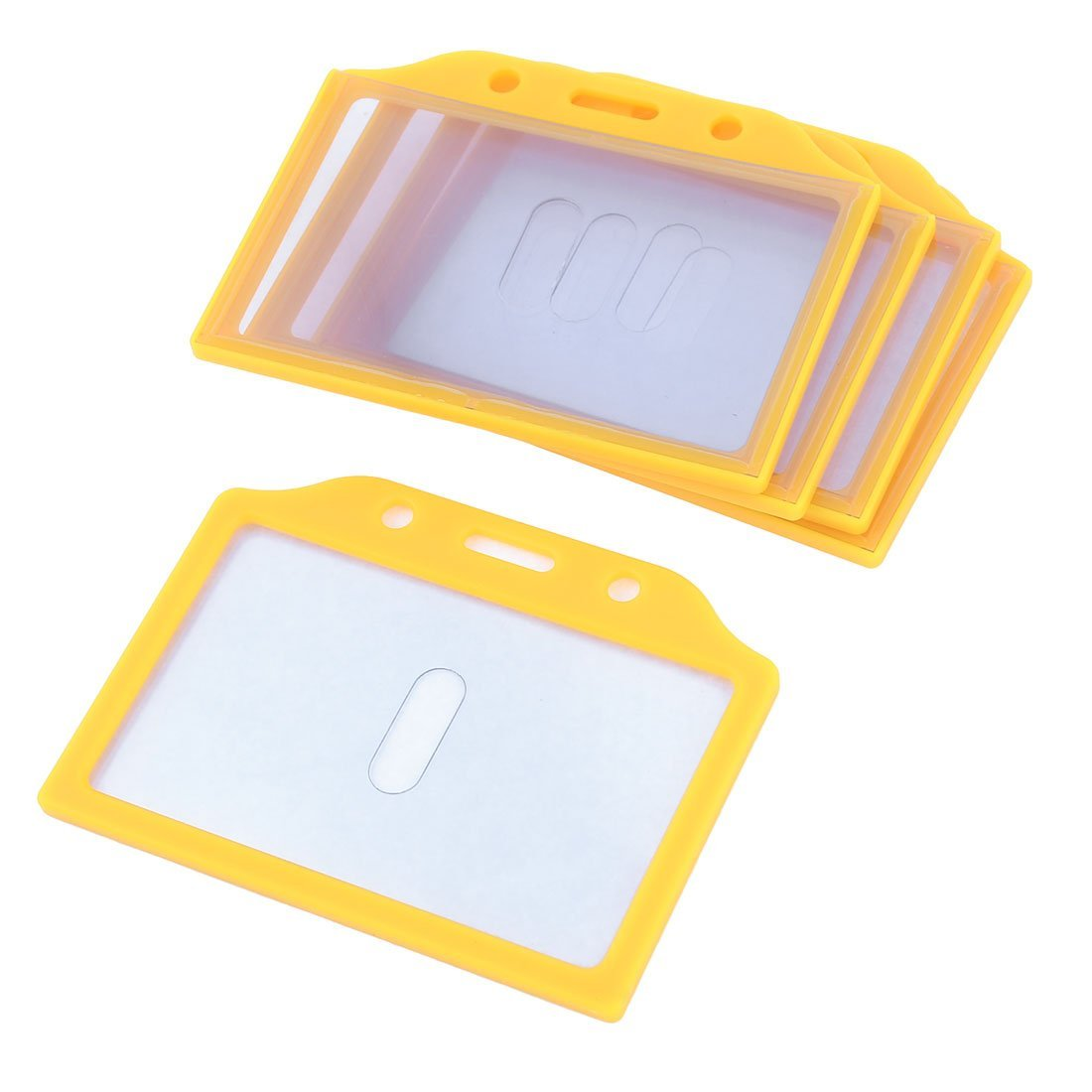 Uxcell Plastic Frame School Slide ID Card Holder, 85 x 52mm, 5-Piece, Yellow