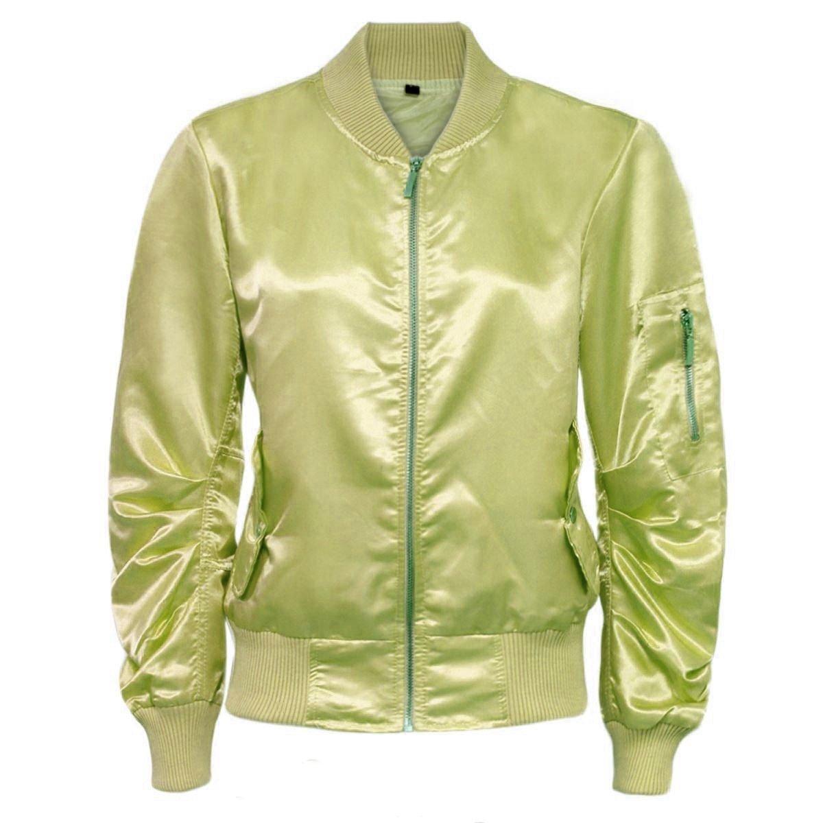 Womens Ladies Satin Plain MA1 Retro Army Flight Vintage Biker Bomber Jacket
