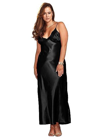 Amazon.com  Plus Size Full Figure Lace Trim Long Satin Gown  Clothing 81f2a8de2