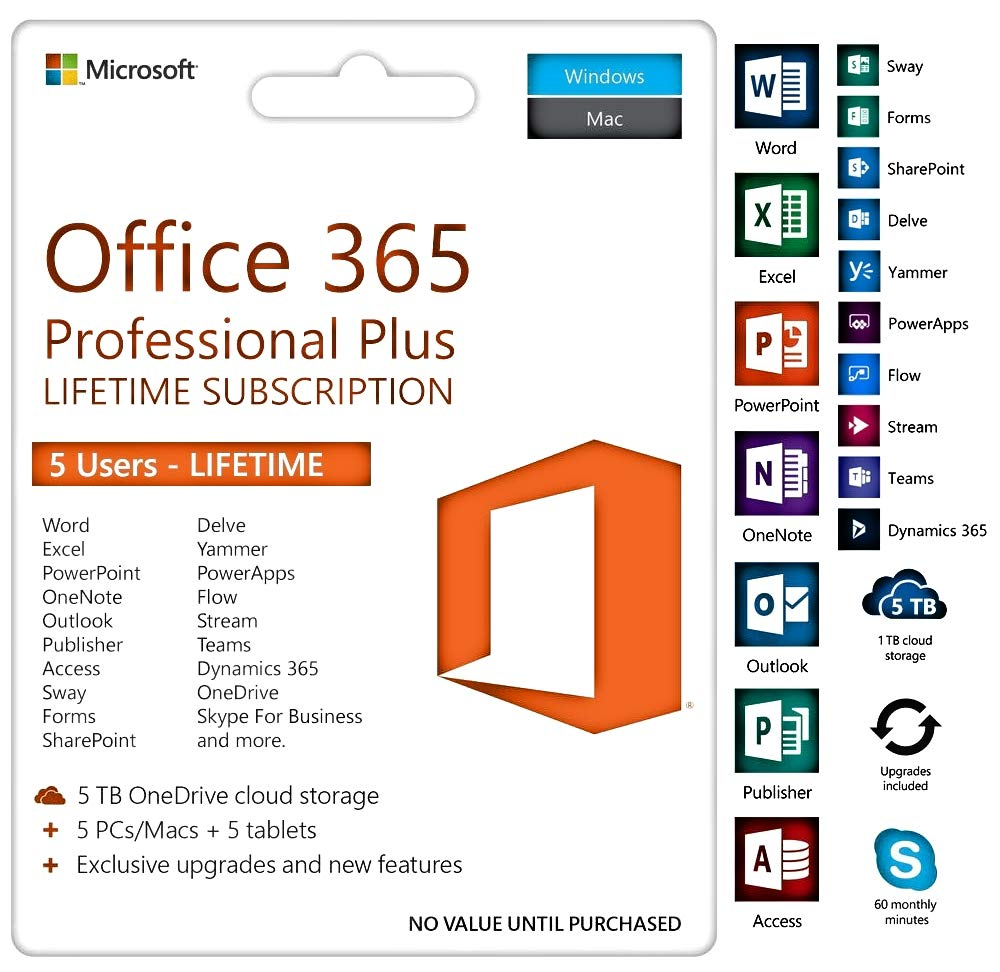 Microsoft Office 365 Lifetime 5 Windows/Mac. ( Both Digital And Physical Delivery )