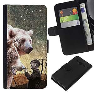 KLONGSHOP // Tirón de la caja Cartera de cuero con ranuras para tarjetas - Oso Polar White Night Pintura Boy - Samsung Galaxy A3 //