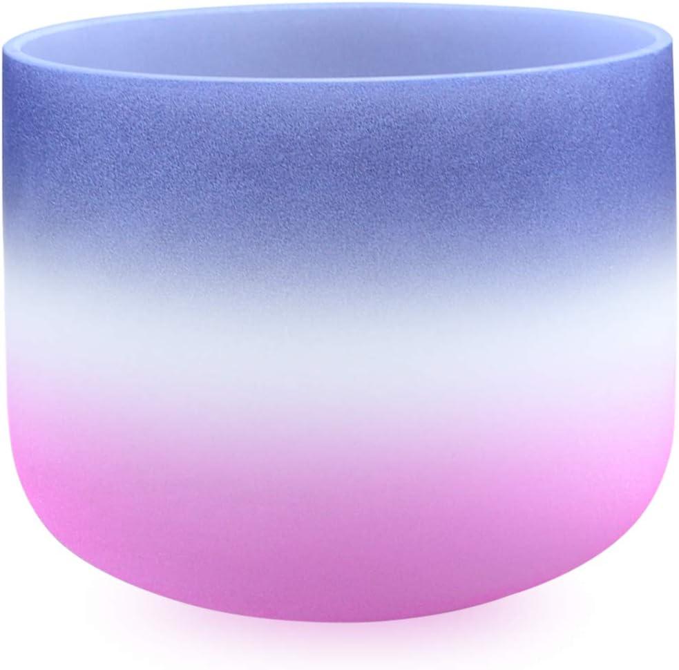 440HZ 8 A Third Eye Navy Blue Pink Chakra Quartz Crystal Singing Bowl Indigo