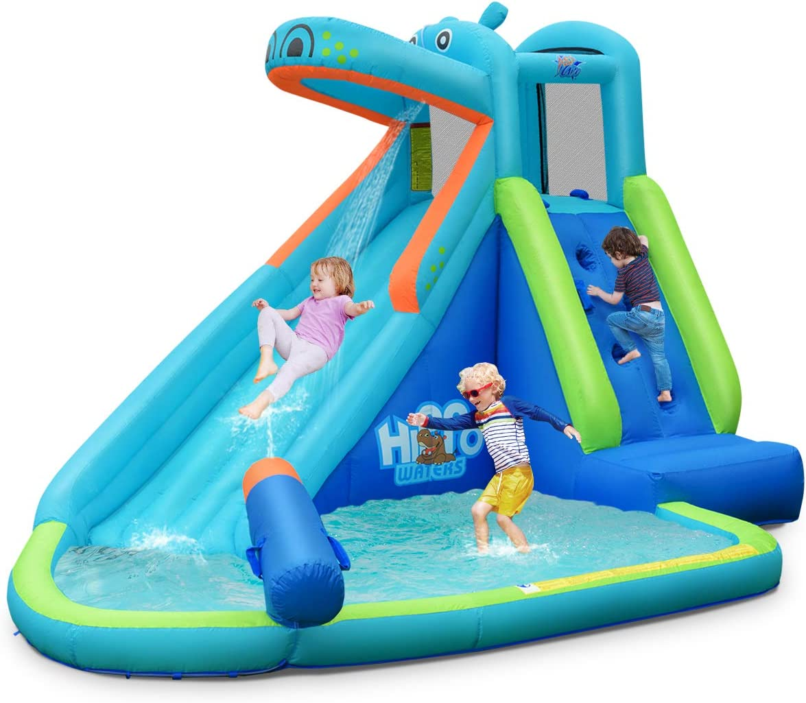 Amazon Com Bountech Inflatable Water Slide Hippo Themed Bounce House Bouncer Park W Splashing Slide Climbing Wall Water Cannon Including Carry Bag Stakes Repair Kit Hose Without Blower Toys Games
