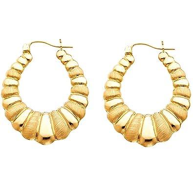 Amazon Com 14k Yellow Gold Shrimp Design Oval Hoop Earrings Jewelry