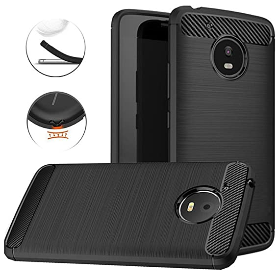 super popular 18253 dd03f Moto E4 Plus Case, Dretal Carbon Fiber Shock Resistant Brushed Texture Soft  TPU Phone case Anti-Fingerprint Flexible Full-Body Protective Cover for ...