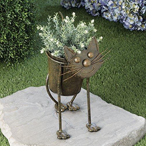 Metal Cat Planter - Animal Urn Planter - Cute Metal Garden Art