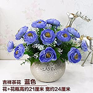LighSCH Artificial Flowers Fake Bouquet Dining Table Plastic Camellia Blue 29