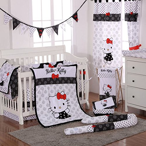 - Hello Kitty Black 4 Piece Crib Bedding Set (Bumper)