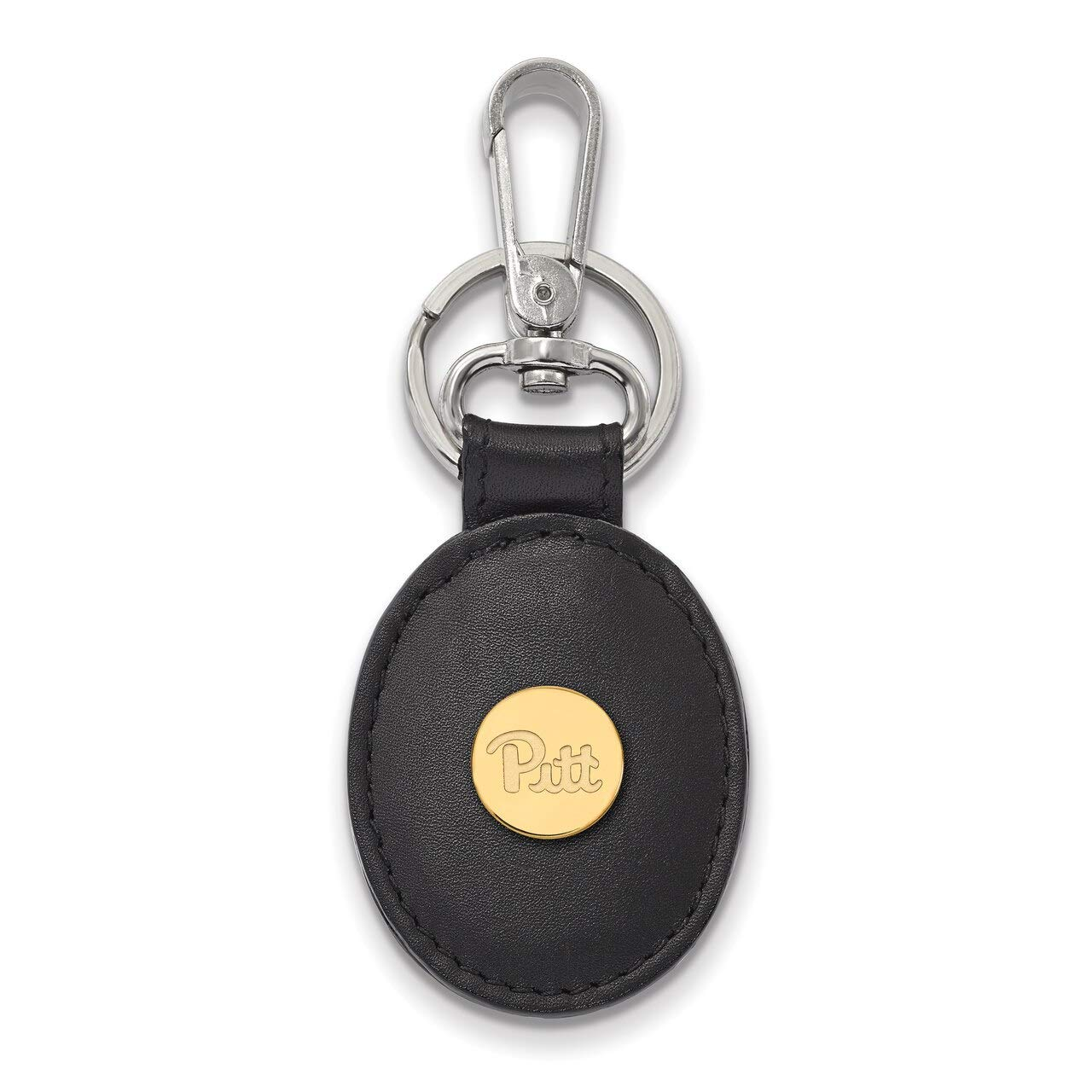Lex /& Lu LogoArt Sterling Silver w//GP University of Pittsburgh Black Leather Oval Key Chain