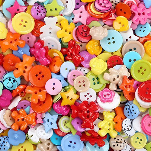 Crystallove Mixed Small Plastic Buttons Lot for Sewing Fasteners Scrapbooking and DIY Handmade Craft with Different Color and Style (plastic-100pcs) ()