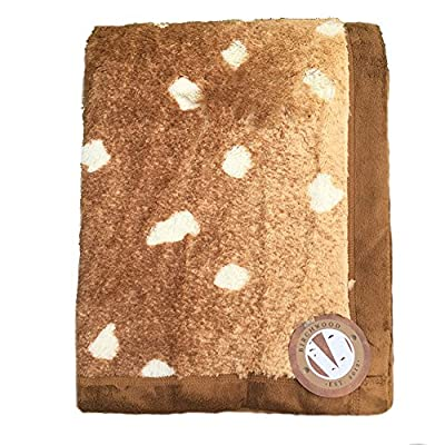 Birchwood Animal Print Throw Blanket, Axis Deer - Made of soft 100Percent polyester Blanket measures 50x 70 Features a beautiful animal print fabric with Solid color trim - blankets-throws, bedroom-sheets-comforters, bedroom - 61x8RuZIntL. SS400  -