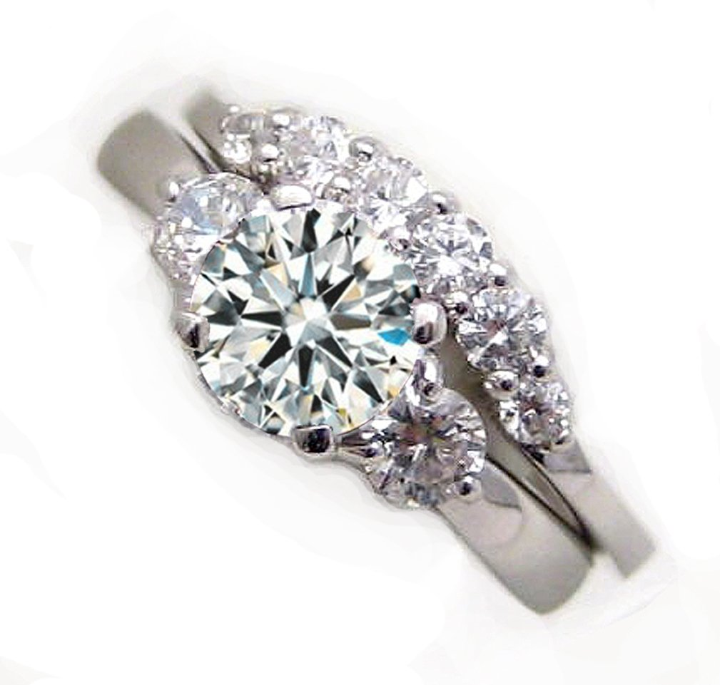 Top Grade 925 Silver 3-Stones Simulated Diamond Ring Band Set 3rdset6