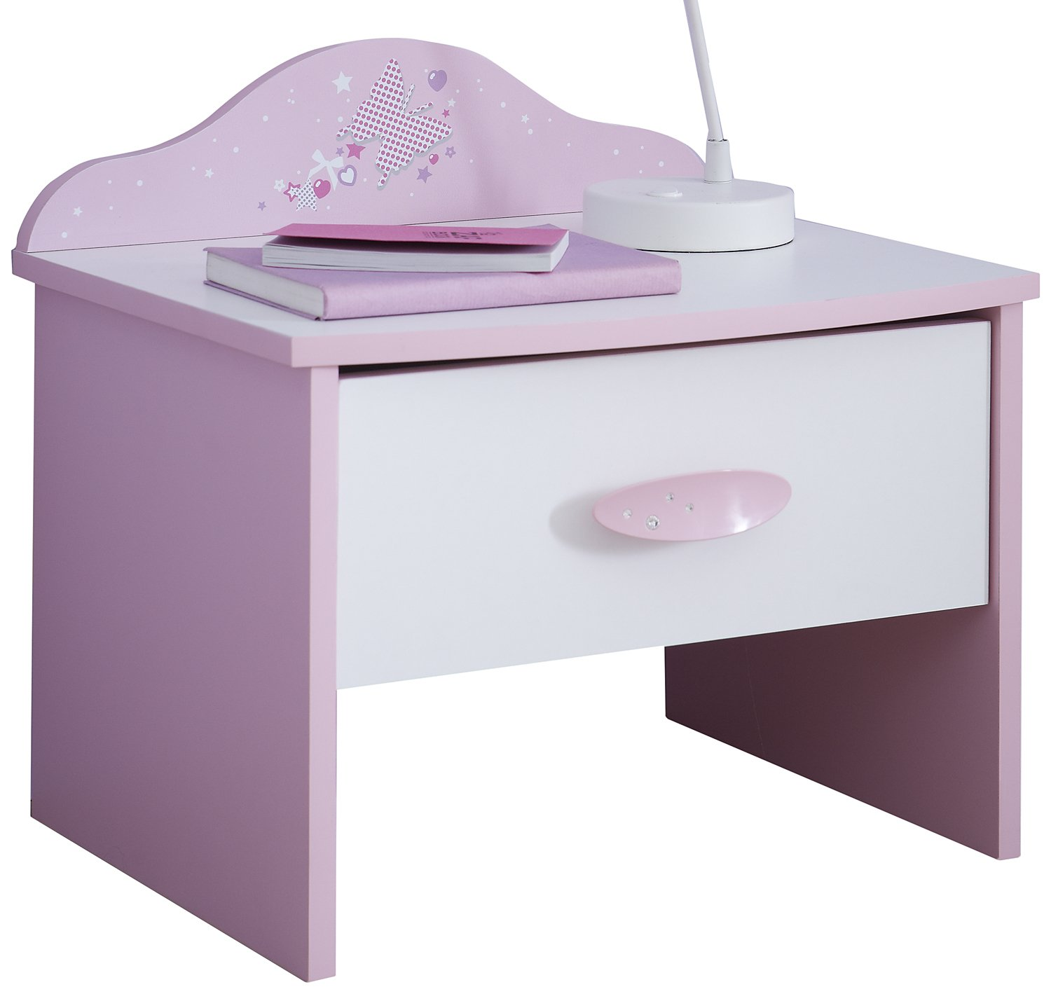 """Demeyere """"Papillon 1-Drawer Bedside Cabinet, Wood, Orchid/White 365470 F00361602043_PINK"""