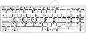 OUKB Teclado de Chocolate Ordenador con Cable Ordenador portátil USB Oficina Externa para el hogar Teclado de Apple Mouse Set Silent Mini (Color : Ivory White Standard Edition)