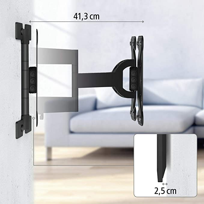 Soporte de pared , tama/ño XL color blanco televisores de hasta 165 cm Hama Fullmotion 65