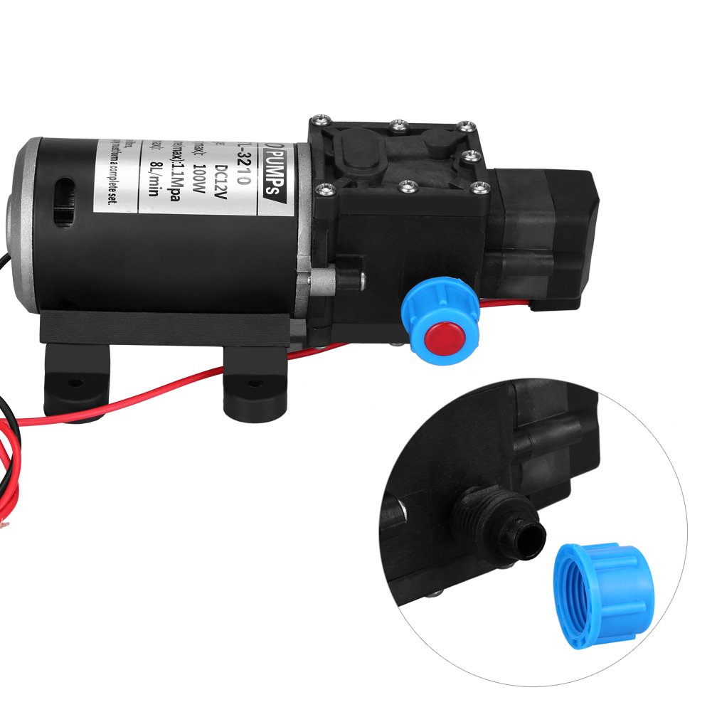 High Pressure Water Pump Flow Irrigation Maximum 8L//MIN Water Pump autocebante DC 12/ V Water Diaphragm with Automatic Switch for the cleaning of Washing of vehicles and gardens