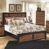 Ashley Aimwell Wood Queen Panel Bed in Brown For Sale
