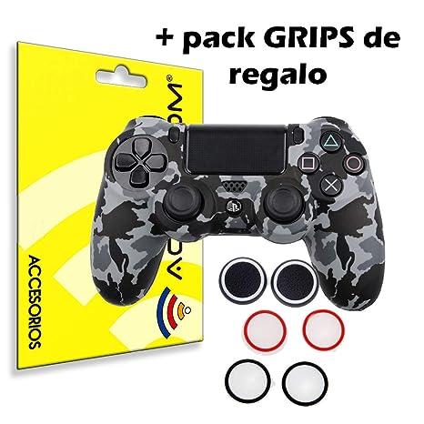 ACTECOM® Funda Carcasa + Grip Silicona Camuflaje Mando Sony PS4 Playstation 4 Camuflaje Gris