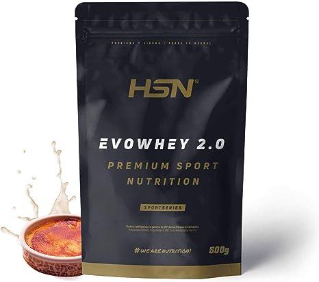 Concentrado de Proteína de Suero Evowhey Protein 2.0 de HSN | Whey Protein Concentrate| Batido de Proteínas en Polvo | Vegetariano, Sin Gluten, Sin Soja, Sabor Crema Catalana, 500g: Amazon.es: Salud y