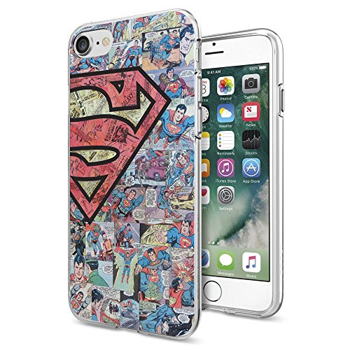 iPhone 7 Case / iPhone 8 Case, Litech™ [FlexFit] Premium Scratch-Resistant, Superhero Series (Super Comic Logo)