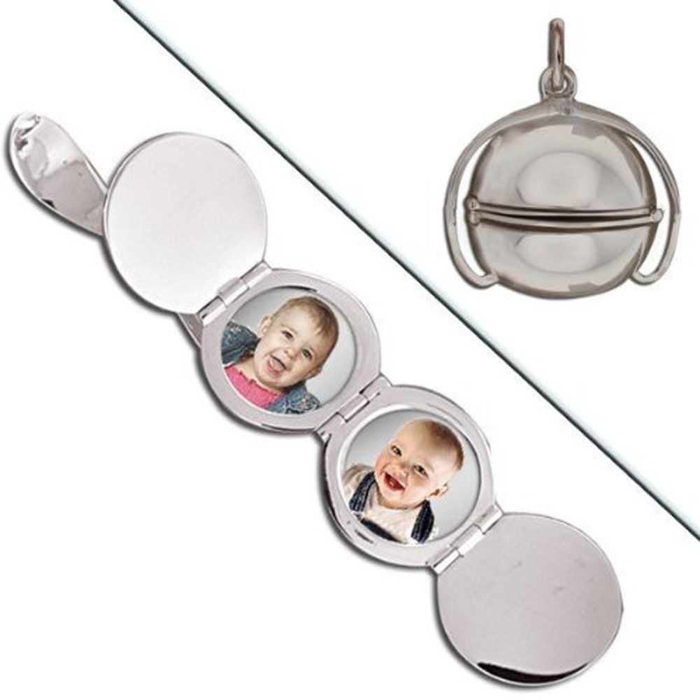 Sterling Silver Ball Four Photo Locket 3/4 Inch X 3/4 Inch X 3/4 Inch Inch Sterling Silver
