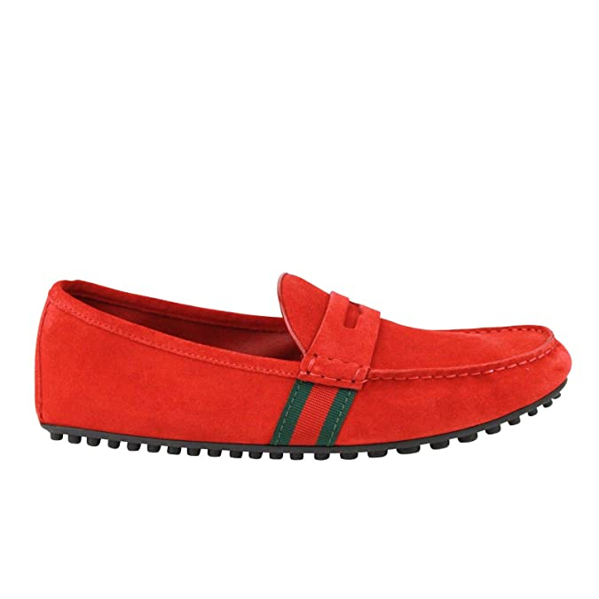 9e2e8b2b828 Amazon.com  Gucci Driver Loafer Red Suede Shoes GRG Web Detail 407411 6460   Shoes