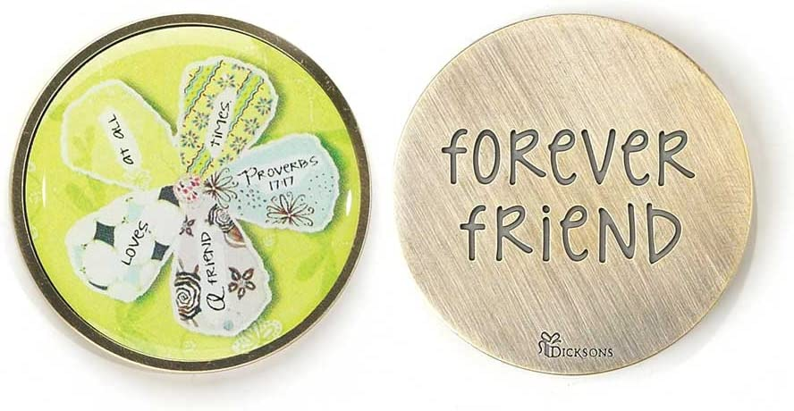 Forever Friend Loves at All Times Proverbs 17:17 Flower Metal Inspirational Hand Held Pocket Stone