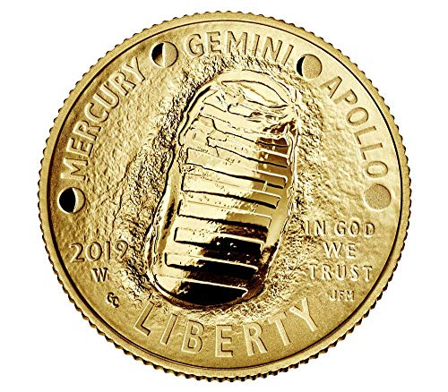 2019 W Apollo 11 50th Anniversary Curved Commemorative Gold Proof Five Dollar Mint Packaged