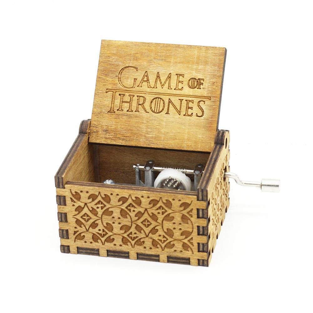 Pawaca Wooden Music Box - Hand Crank Musical Box, Hand Engraved Wooden Music Box, Game of Thrones/ Harry Potter/Beauty and the Beast Music Box, for Home Decoration,Crafts,Gift