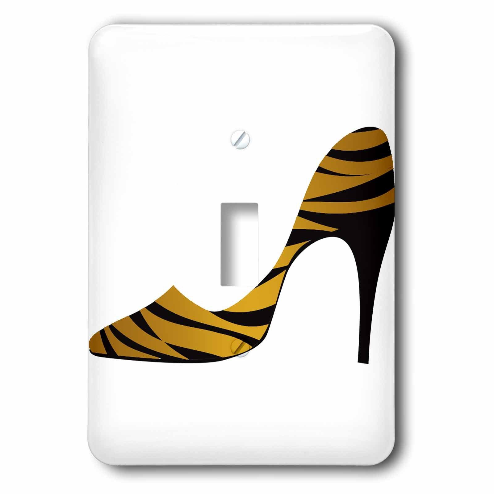 3D Rose lsp_211081_1 Gold Zebra Stripped Ladies High Heel Shoe-Single Toggle Switch, Black