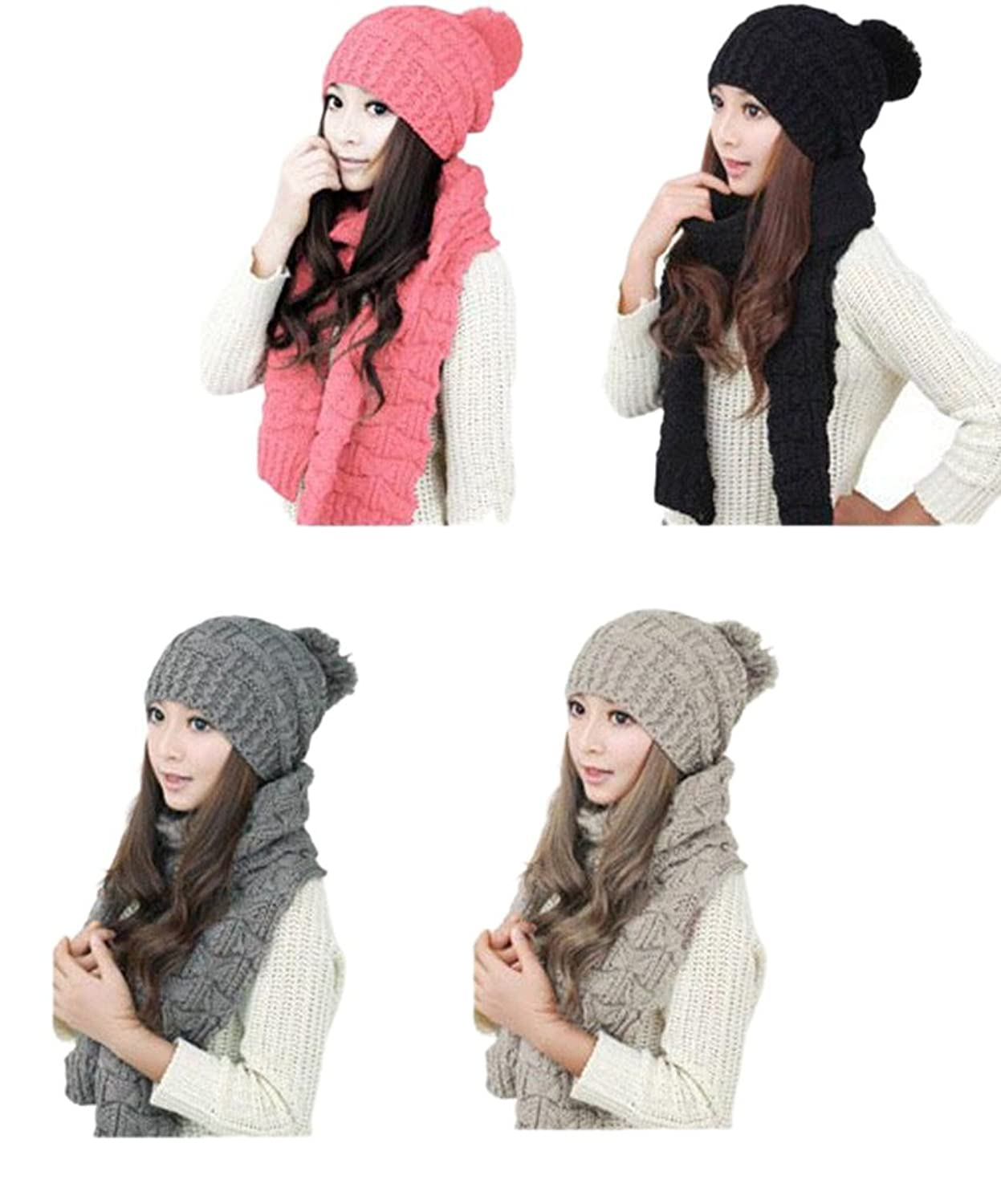 I'MQueen Women's Girls Fashion Winter Warm Skull Cap Knitted Hat and Scarf Set