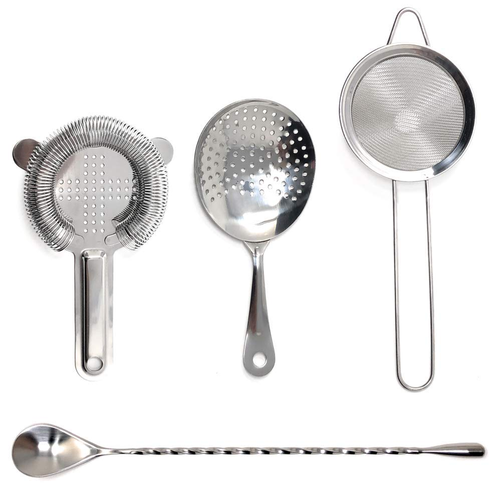 TheBarsentials Stainless Steel Cocktail Strainer Bar Tool Set with Stirring Spoon - Hawthorne Strainer, Julep Strainer, Fine-Mesh Strainer / Sifter by TheBarsentials