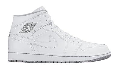 43b3d1862d Nike Mens Air Jordan 1 Mid White Leather Trainers, 8.5 AU: Amazon ...