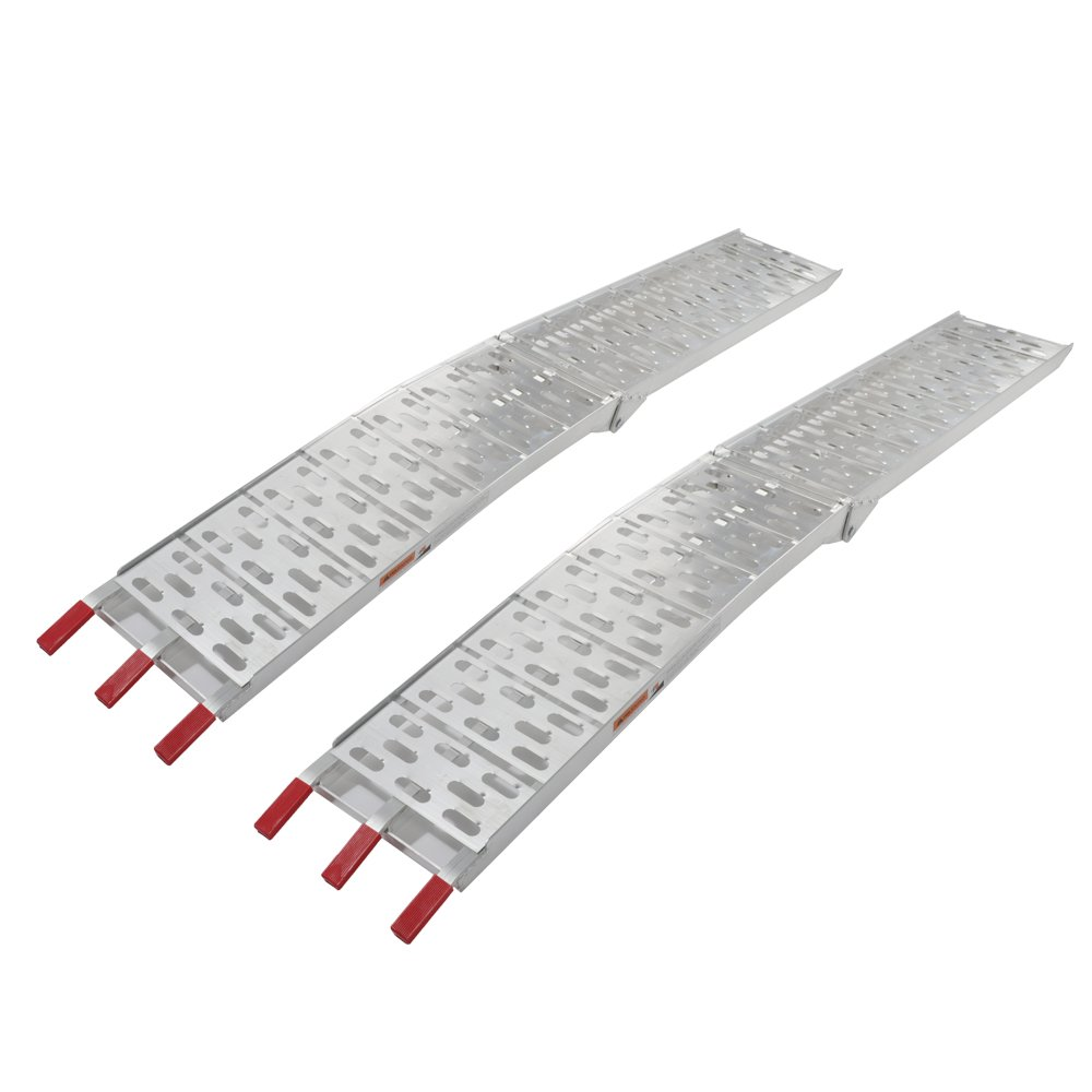 2 Pcs 7.5 ft Aluminum Plate Folding Loading Ramps Top Lawnmower ATV Truck Motorcycle Ramp Silver 1500lb Capacity by Motorhot (Image #2)
