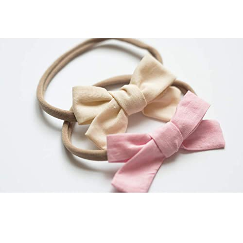 Linen Headbands Hand Tied Bow Girls Linen Bows Fabric Bow Buff School Girl Bow Pig Tail Bows Baby Girl Headband Piggy Tail Bow