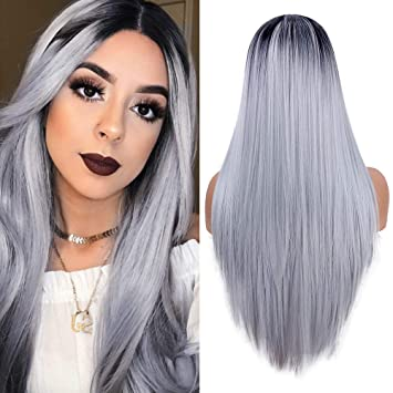 51af00a6e Amazon.com : fani Long Straight Ombre Grey Wigs for Women Non-Lace Front  Synthetic Full Wig Halloween Cosplay Costume Wigs Dark Roots Middle Part 22  Inch : ...