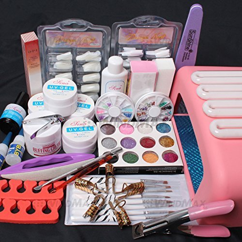ReNext Professional 26 in1 Nail Art Tips UV Builder Gel Brush 36W Timer Dryer Lamp Decorations Kit by ReNext