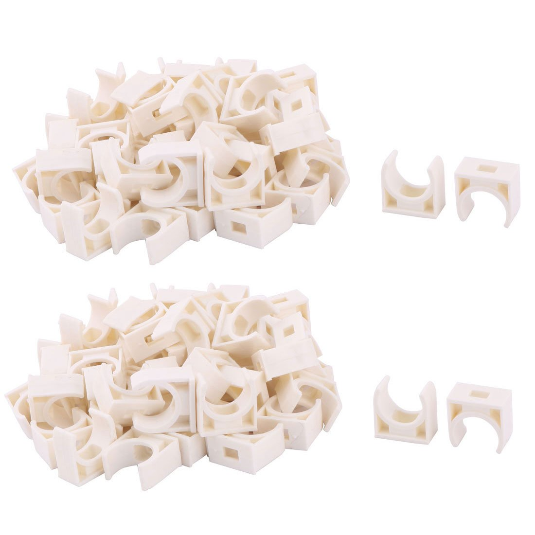 uxcell PVC Home U Shaped Water Supply Tube Hose Pipe Holder Clamp Clip 16mm Dia 100 Pcs