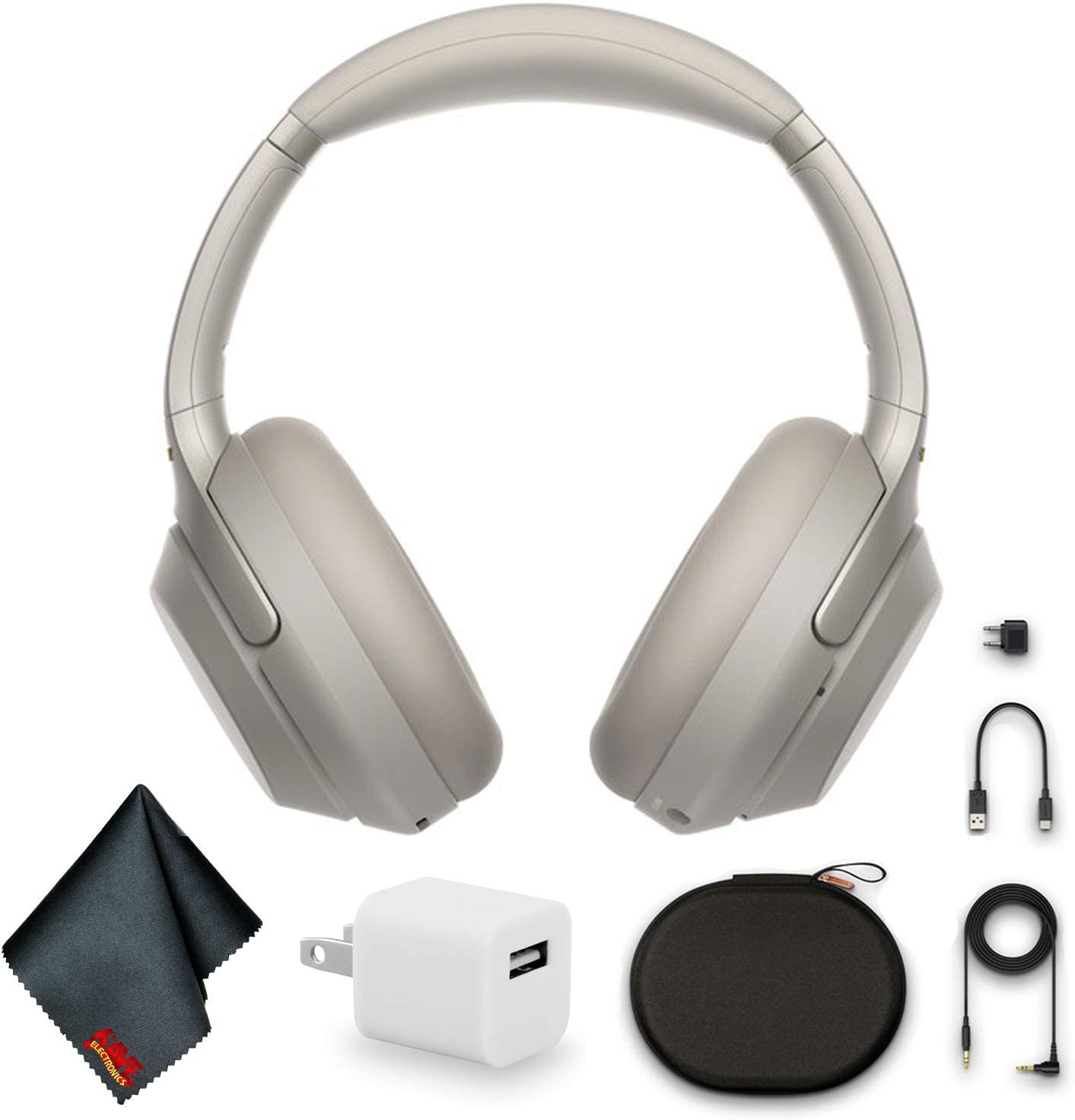 Sony WH-1000XM3 Wireless Noise-Canceling Over-Ear Headphones (Silver) Bundle with USB Adapter and More
