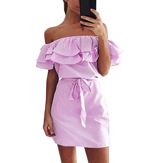 Kleid Kolylong® Damen Elegant Gestreift Trägerloses Kleid Kurz Vintage  Schulterfrei Rückenfrei Kleider Mit Gürtel Off b2b5dc517f