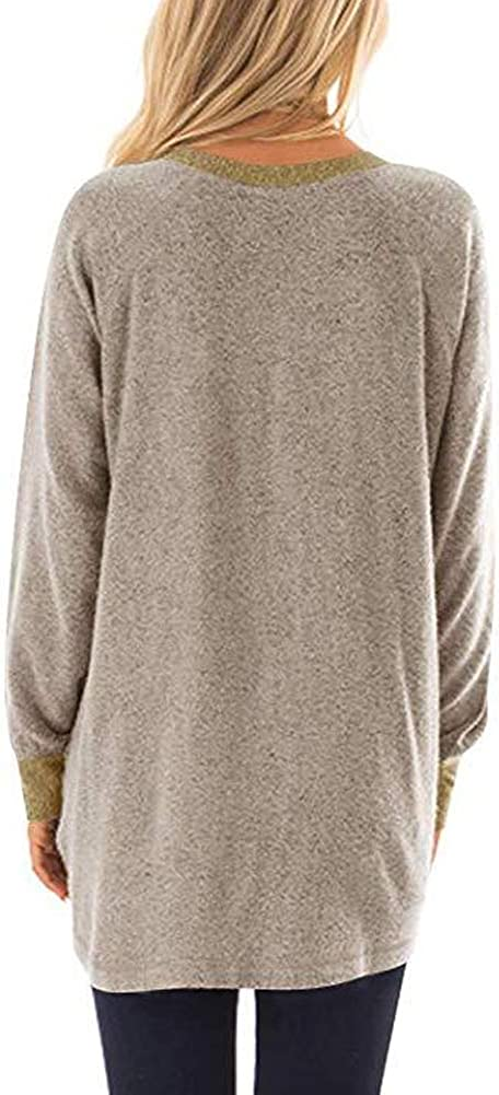 Womens Autumn Shirt, S.CHARMA Round Collar Contrast Color Pocket Loose Sweatshirt Top Hoodie for Women Ladies Daily Travel Casual Vintage Stylish Khaki