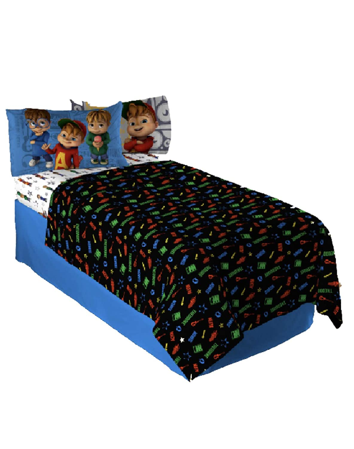 Inc Alvin and The Chipmunks 3 Piece Twin Sheet Set Franco Manufacturing Co MA799C0