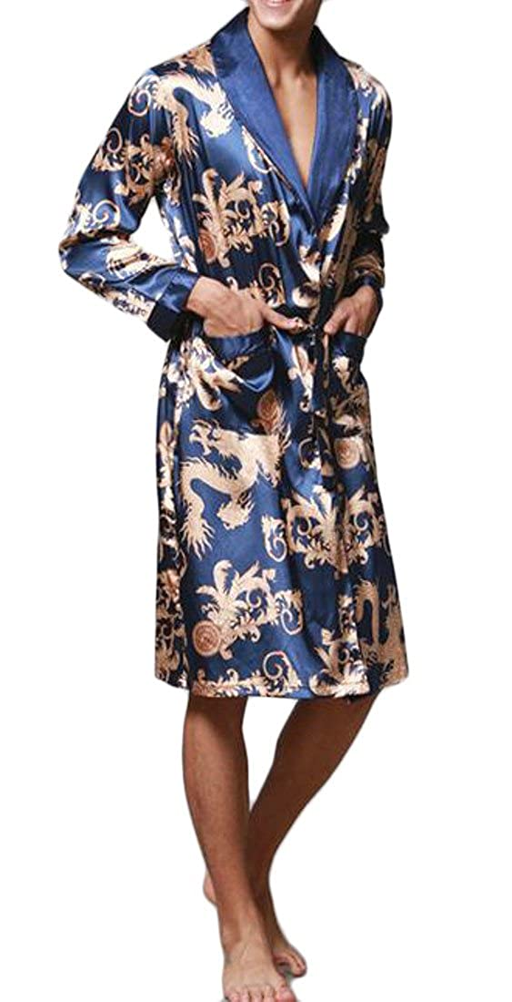 Wofupowga Men Long Sleeve Soft Print Summer Bathrobe Kimono Belt Robe